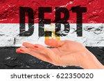 open hand over flag of egypt... | Shutterstock . vector #622350020
