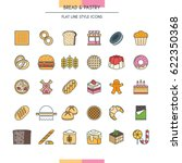 bread and dessert flat line... | Shutterstock .eps vector #622350368