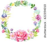 frame round of flowers...   Shutterstock . vector #622354010