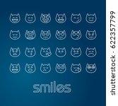 set of flat outline smiles cat... | Shutterstock .eps vector #622357799