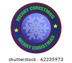 Label with snowflake and the text Merry Christmas written inside - stock vector