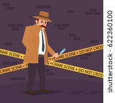 detective at crime scene | Shutterstock .eps vector #622360100
