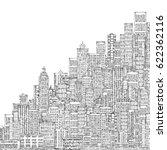 cityscape building line art... | Shutterstock . vector #622362116