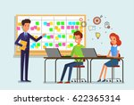 cartoon scrum master. a man is... | Shutterstock .eps vector #622365314