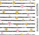 Seamless Striped Stars Pattern. ...