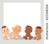 cute little babies in diaper.... | Shutterstock .eps vector #622368266