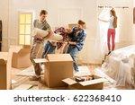 happy young friends having fun... | Shutterstock . vector #622368410