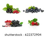 Ripe Berries Isolated On White...