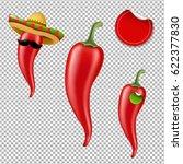 hot chilli pepper big set  | Shutterstock . vector #622377830