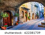 charming old street of medieval ... | Shutterstock . vector #622381739