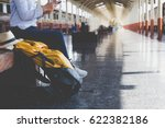 traveler girl with a backpack... | Shutterstock . vector #622382186