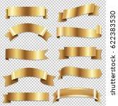 big golden ribbons set    Shutterstock . vector #622383530