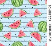 seamless watermelon pattern.... | Shutterstock .eps vector #622385408