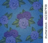 denim background with floral...   Shutterstock .eps vector #622387958