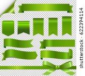 green ribbons set gradient mesh ... | Shutterstock .eps vector #622394114
