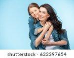 portrait of happy mother and... | Shutterstock . vector #622397654