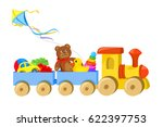 toy train with toys isolated....   Shutterstock .eps vector #622397753