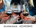 wining with friends. seven... | Shutterstock . vector #622403843