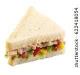Small photo of TUNA SALAD SANDWICH WITH WHITE BREAD ON WHITE