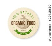 organic food round paper emblem ... | Shutterstock .eps vector #622418690