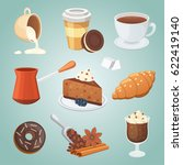 cup of coffee  cappuccino ... | Shutterstock .eps vector #622419140