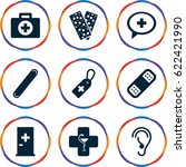aid icons set. set of 9 aid... | Shutterstock .eps vector #622421990