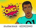 wow pop art male face. young... | Shutterstock .eps vector #622422443