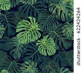 seamless tropical pattern with... | Shutterstock . vector #622424264