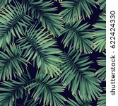 dark tropical pattern with... | Shutterstock . vector #622424330