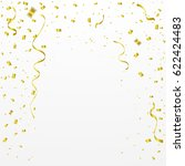 golden confetti and ribbon... | Shutterstock .eps vector #622424483