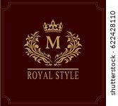 floral monogram luxury design ... | Shutterstock .eps vector #622428110