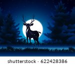 deer and moon and grass in pine ... | Shutterstock .eps vector #622428386