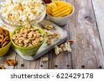 beer snacks on wooden table  ... | Shutterstock . vector #622429178
