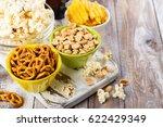 beer snacks on wooden table  ...   Shutterstock . vector #622429349