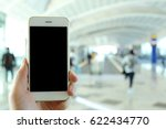hand holding mockup smartphone... | Shutterstock . vector #622434770
