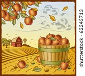 landscape with apple harvest.... | Shutterstock .eps vector #62243713