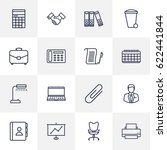 set of 16 work outline icons... | Shutterstock .eps vector #622441844