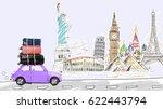around the world. blue retro... | Shutterstock . vector #622443794