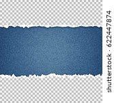 ripped paper on denim... | Shutterstock .eps vector #622447874