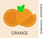 orange fruit icon flat...   Shutterstock .eps vector #622450316