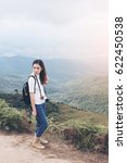 woman hiker standing with...   Shutterstock . vector #622450538