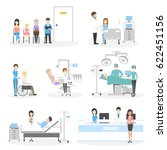isolated hospital set on white... | Shutterstock . vector #622451156