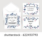 wedding invitation flower card... | Shutterstock .eps vector #622453793