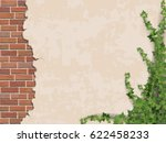 ivy on weathered wall... | Shutterstock .eps vector #622458233
