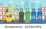 robot throwing away plastic... | Shutterstock .eps vector #622462496
