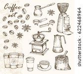 vector sketched coffee set | Shutterstock .eps vector #622468964