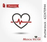pulse icon . medical vector . | Shutterstock .eps vector #622470944