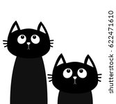 Stock vector two black cat set looking up friends forever cute cartoon character kawaii animal love greeting 622471610