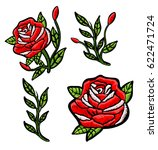red roses embroidery patch | Shutterstock . vector #622471724