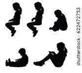 children silhouette sitting... | Shutterstock .eps vector #622472753